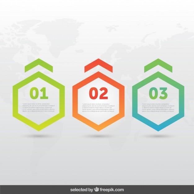 Hexagonal façonne infographie Vecteur gratuit
