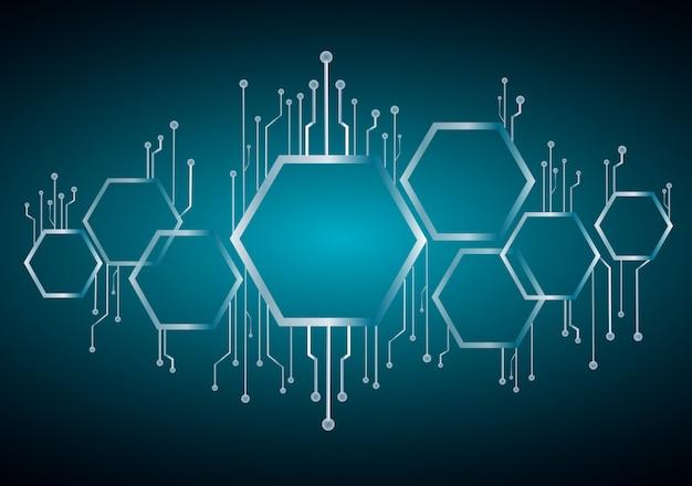 Hexagone abstrait et fond de ligne de technologie Vecteur Premium
