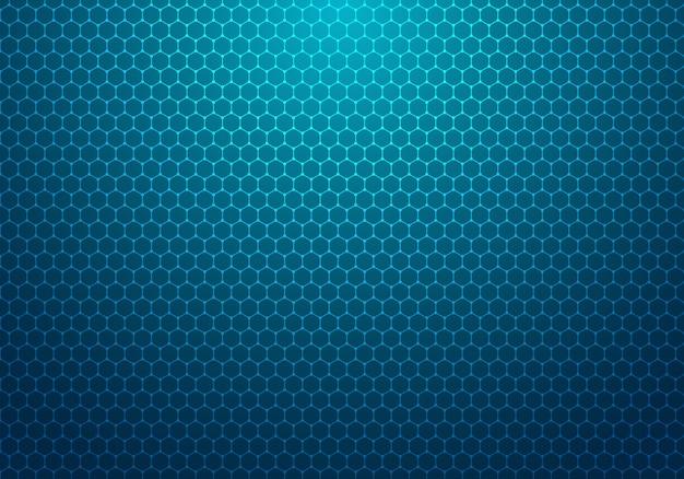 Hexagone Bleu Abstrait Avec Fond De Technologie De Motif De Point Vecteur Premium