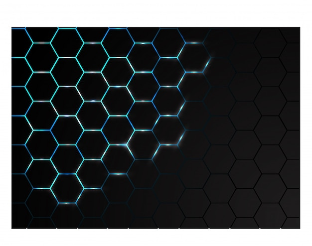 Hexagone maille l'énergie de la lumière bleue en arrière-plan de la technologie noire. Vecteur Premium