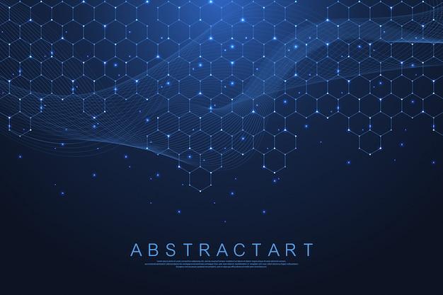 Hexagones Abstrait Avec Des Formes Géométriques. Science, Concept Technologique. Vecteur Premium