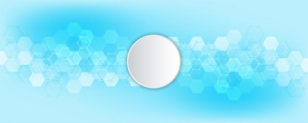 Hexagones Abstraits Avec Fond De Cercle Vide Vecteur Premium