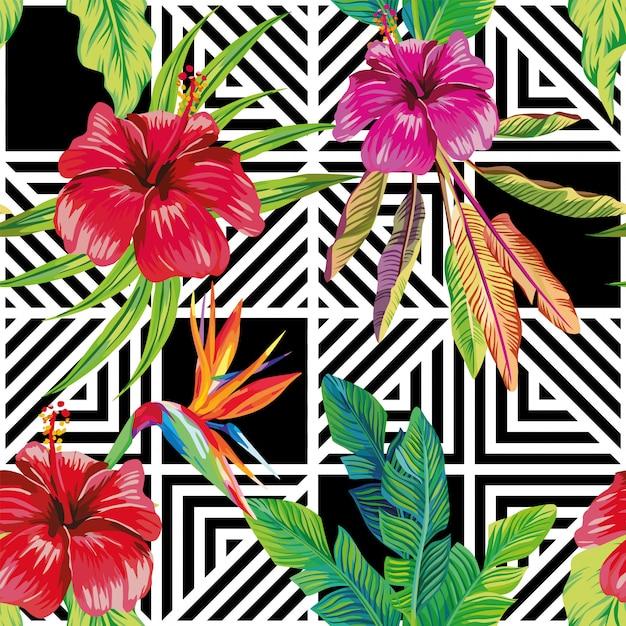 Hibiscus oiseau de paradis feuilles géométrique noir blanc modèle sans couture Vecteur Premium