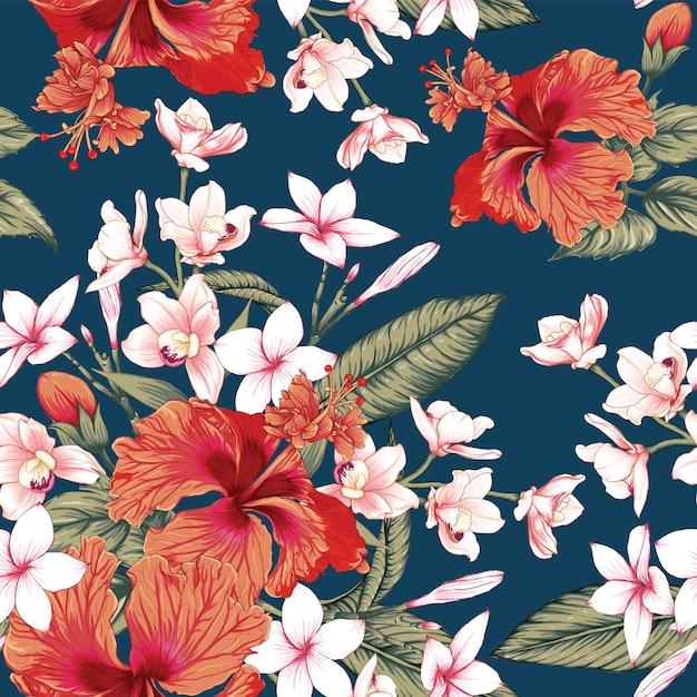 Hibiscus rouge transparente motif floral, fond de fleurs de frangipanier et d'orchidée rose. illustration vectorielle. Vecteur Premium