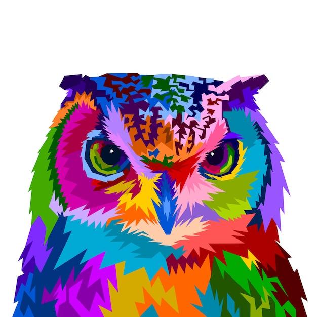 Hibou coloré avec style pop art Vecteur Premium