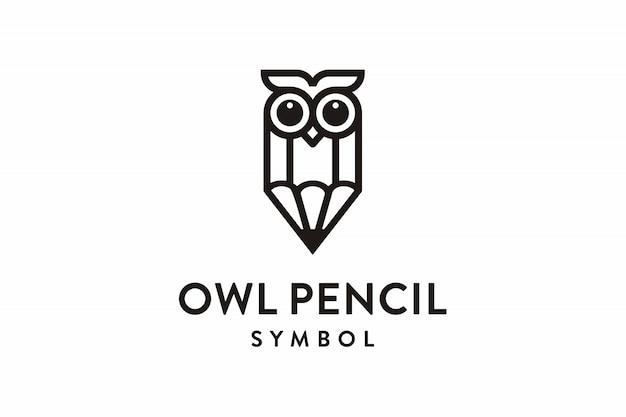 Hibou Crayon Symbole Logo Vecteur Premium
