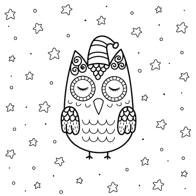 Hibou Endormi Mignon Dans La Page De Coloriage De Style Zentangle Pour Les Enfants. Fond Magique Noir Et Blanc Avec Un Personnage Drôle. Vecteur Premium