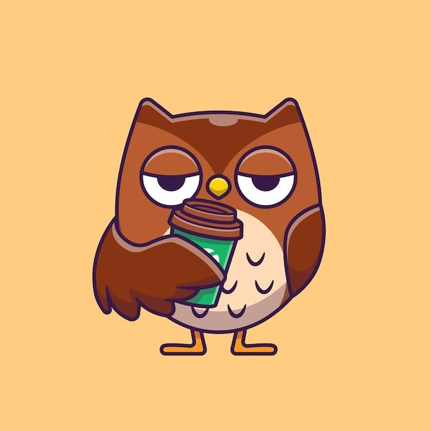 Hibou Mignon Tenant Illustration D'icône De Dessin Animé De Café. Vecteur gratuit