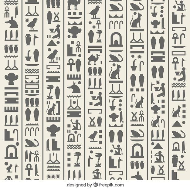 Hiéroglyphique égyptienne Vecteur Premium