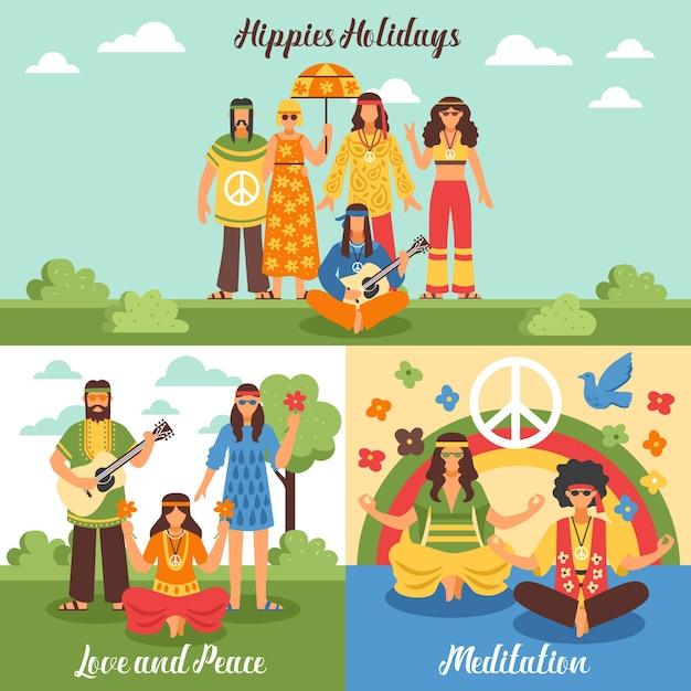 Hippie design concept set Vecteur gratuit