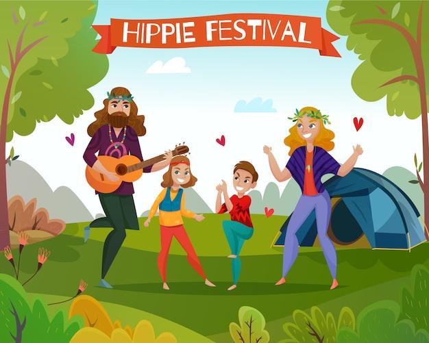 Hippie Festival Cartoon Illustration Vecteur gratuit