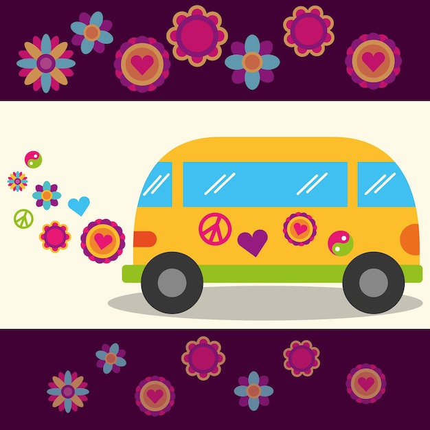 Hippie libre esprit van fleurs festival signe de paix Vecteur Premium