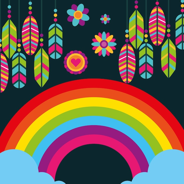 Hippie plumes arc-en-ciel fleurs boho esprit libre Vecteur Premium