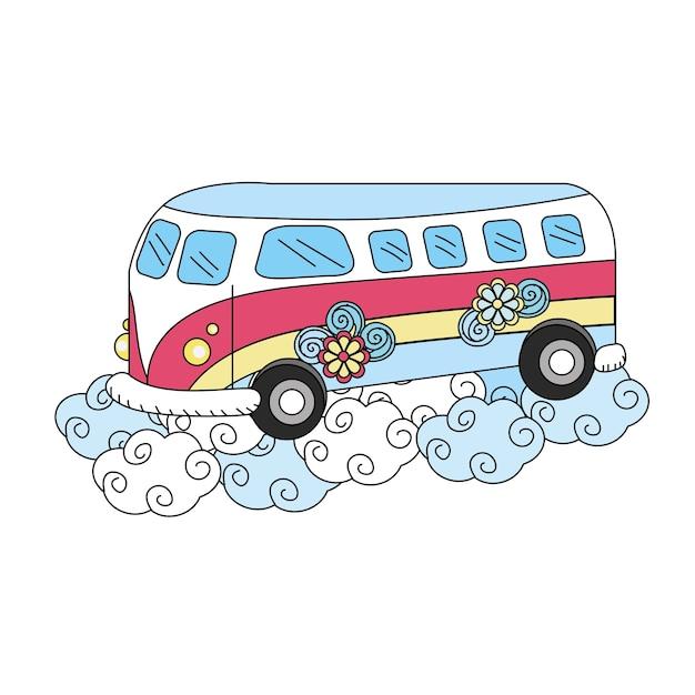 Hippie van avec des fleurs et des nuages Vecteur Premium
