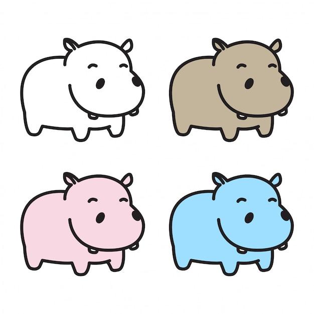 Hippo Hippopotame Dessin Anime Icone Vecteur Premium