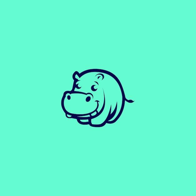 Hippo logo unique concepts minimaliste abstrait Vecteur Premium