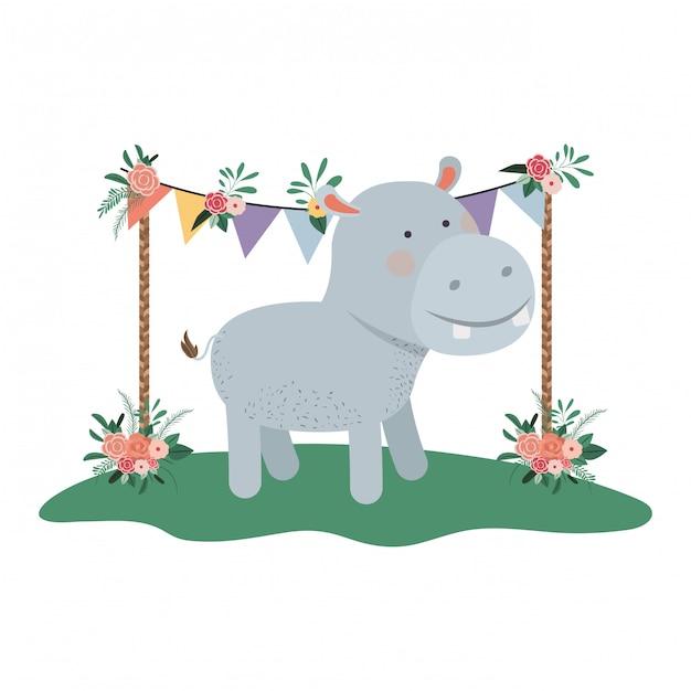 Hippo mignon et adorable avec cadre floral Vecteur Premium