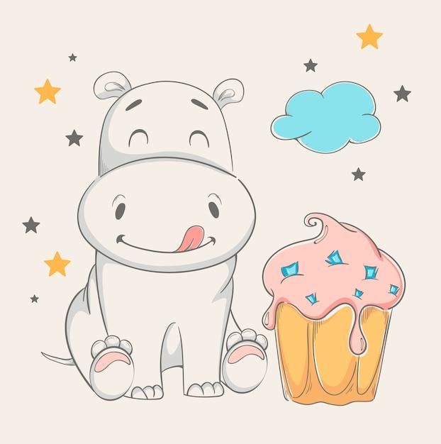 Hippo mignon assis près du gros gâteau Vecteur Premium