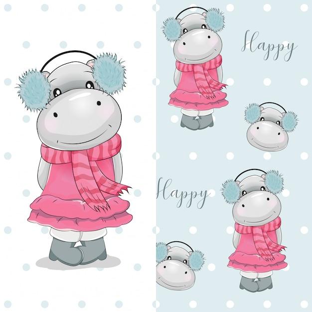 Hippo mignon dessiné avec un motif à la main Vecteur Premium