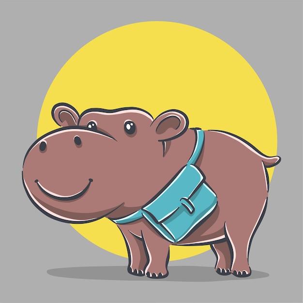 Hippo Mignon Avec Illustration D & # 39; Icône De Dessin Animé De Sac D & # 39; école Vecteur Premium