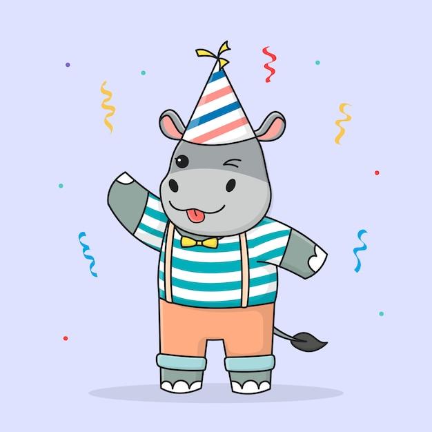 Hippo Mignon Joyeux Anniversaire Avec Chapeau Vecteur Premium