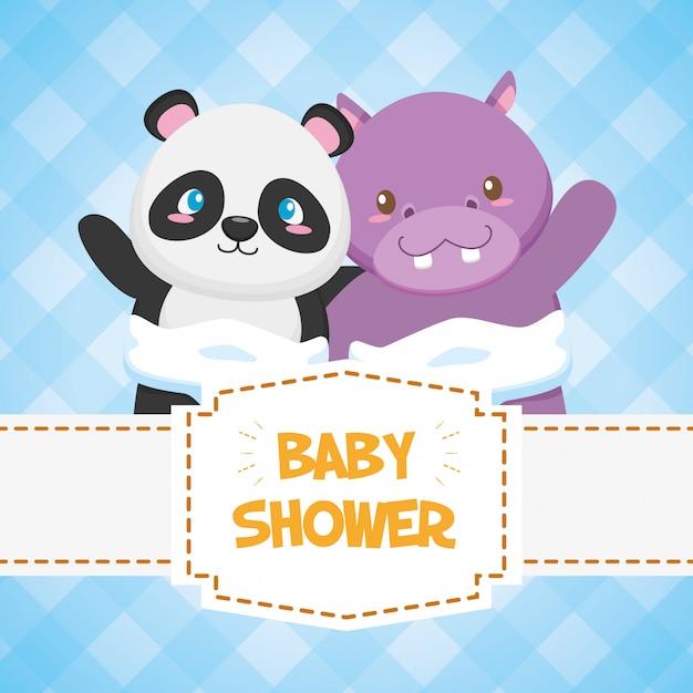 Hippo et panda pour carte de douche de bébé Vecteur gratuit