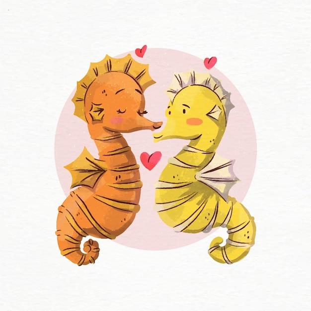 Hippocampes Aquarelle Saint Valentin Amoureux Vecteur Premium