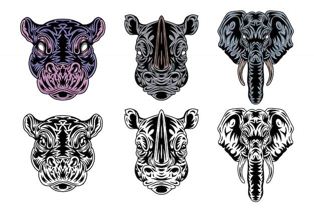 Hippopotame, rhino, éléphant de style rétro. illustration isolée sur fond blanc. Vecteur Premium