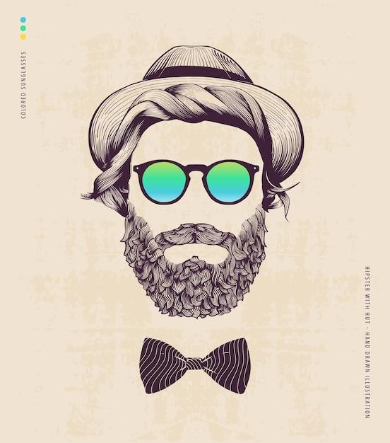Hipster avec chapeau et noeud de jazz Vecteur Premium