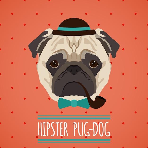 Hipster, chien pug, chapeau, pipe, bow, cravate, portrait, ruban, affiche, vecteur, illustration Vecteur gratuit