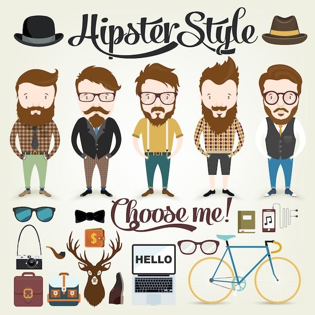Hipster collection conçoit Vecteur gratuit