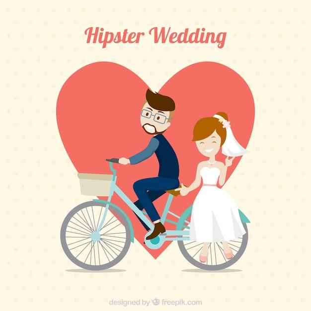 Hipster Couple De Mariage à Vélo Vecteur gratuit