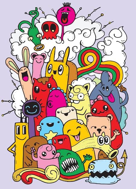 Hipster dessinés à la main crazy doodle monster group Vecteur Premium
