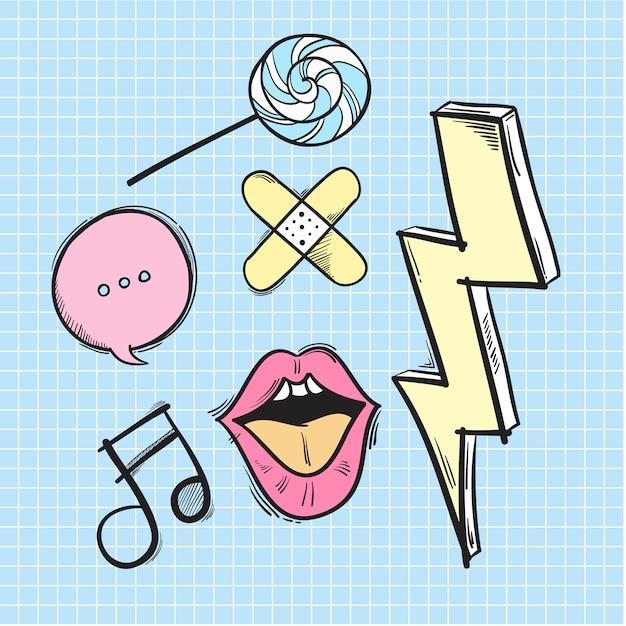 Hipster doodles Vecteur gratuit