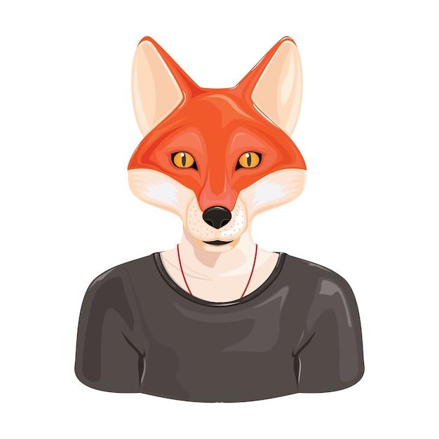 Hipster Fox Avatar Vecteur Premium