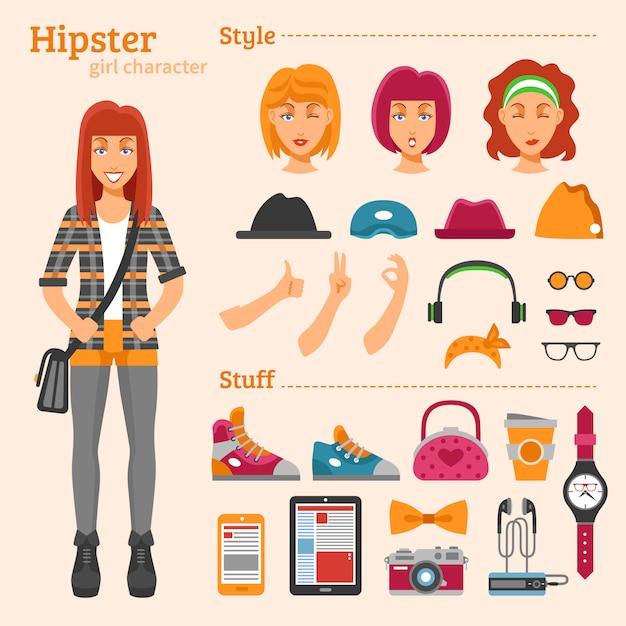 Hipster girl character set d'icônes décoratives Vecteur gratuit