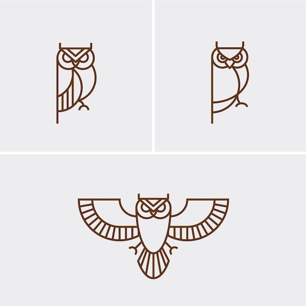 Hipster linear owl logo Vecteur Premium