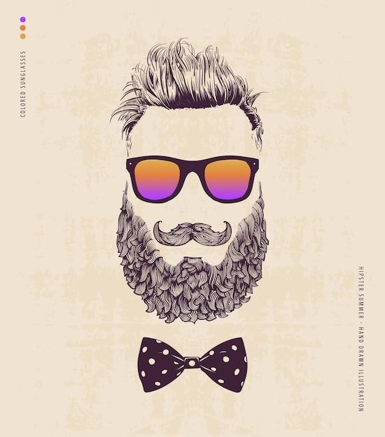 Hipster avec moustache à barbe et lunettes de soleil Vecteur Premium