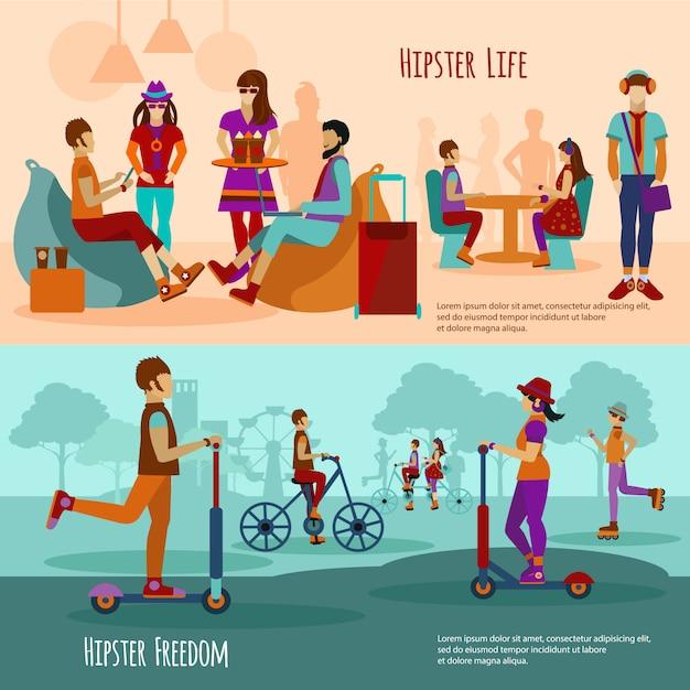 Hipster people banner set Vecteur gratuit