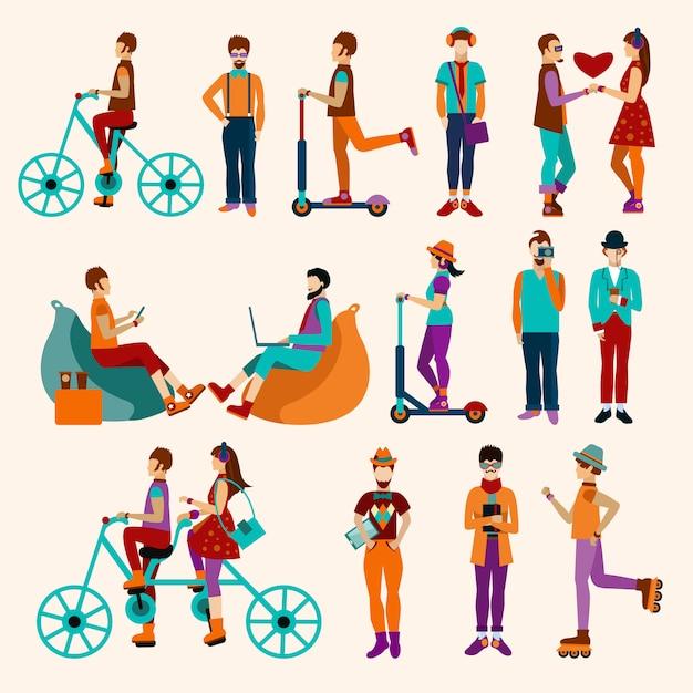 Hipster people flat set Vecteur gratuit