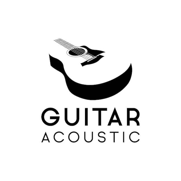 Hipster Rétro De Logo De Guitare Acoustique, Icône De La Guitare Acoustique Classique Vecteur Premium