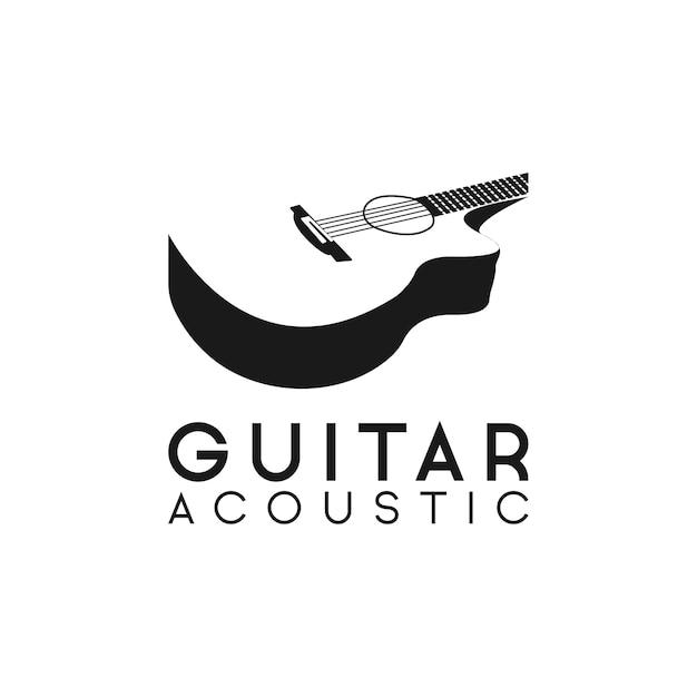Hipster Rétro De Logo De Guitare Acoustique Vecteur Premium