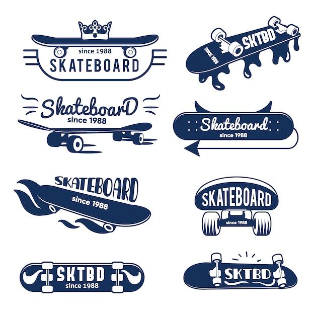 Hipster skateboard logo et badges collection Vecteur Premium