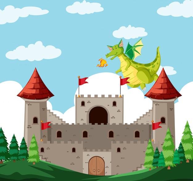 Une histoire de dragon fantastique Vecteur gratuit