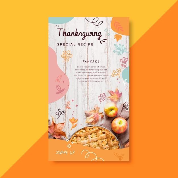 Histoire Instagram De Thanksgiving Avec Recette De Tarte Aux Pommes Vecteur gratuit