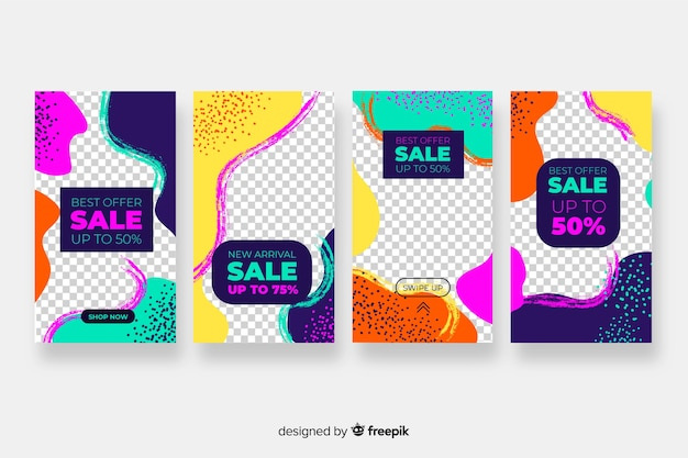 Histoires abstraites colorées de vente abstraite Vecteur gratuit