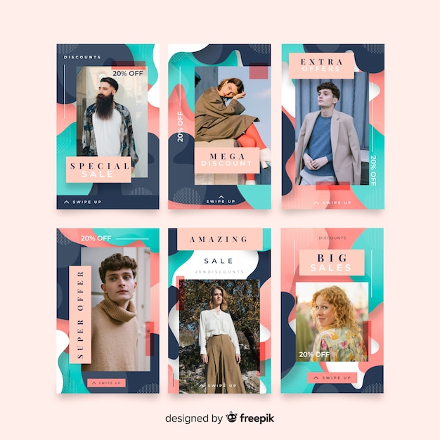 Histoires abstraites colorées de vente avec instagram Vecteur gratuit