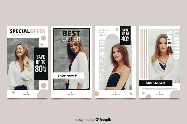 Histoires abstraites d'instagram de vente de mode Vecteur gratuit