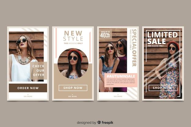 Histoires Abstraites De Vente De Mode Vecteur gratuit