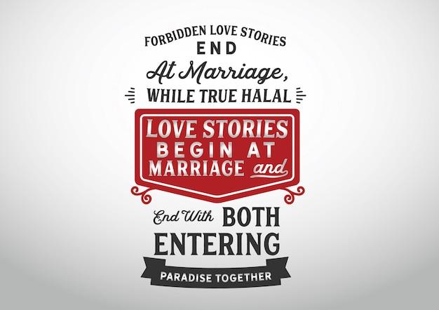 Les histoires d'amour interdites se terminent au mariage Vecteur Premium